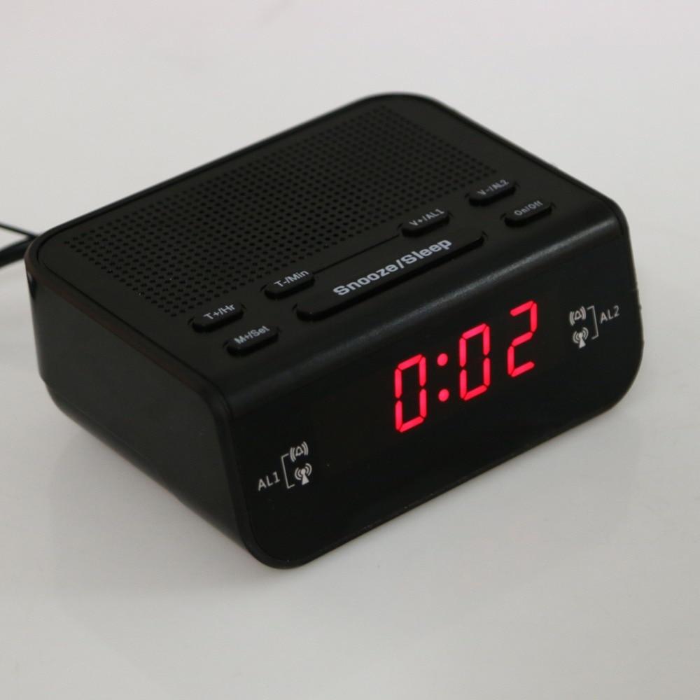 modern design compact digital alarm clock fm radio with dual alarm buzzer snooze sleep red led time display home desk clock - Designer Desk Clock