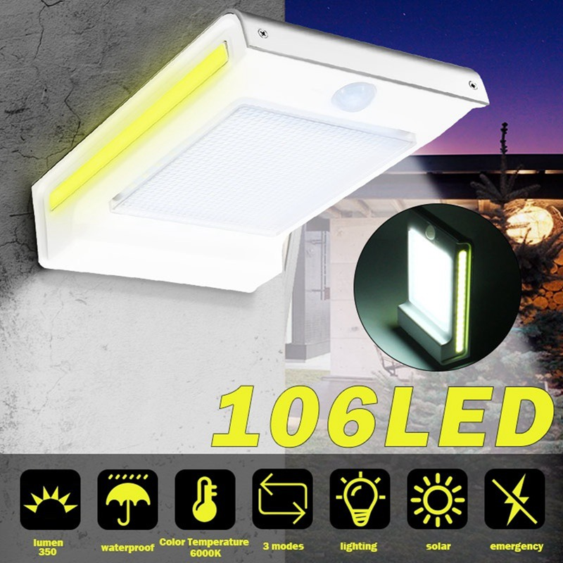 72/106 LED Solar Light Wall Lamp Outdoor Garden Motion Sensor Flood Light Waterproof Security Lights Luz Solar Led Para Exterior
