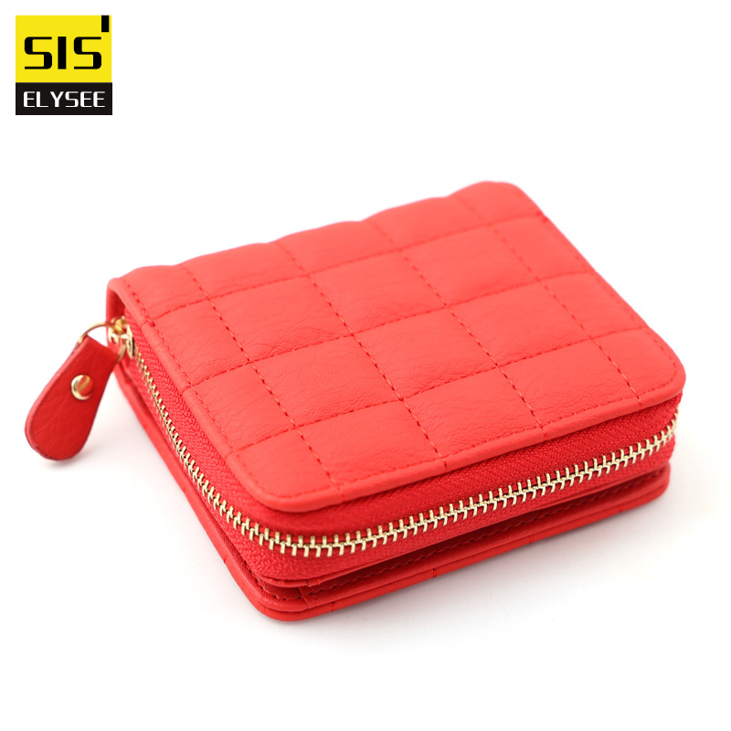 Casual Simple Wallet Women Pu Leather Mini Multifunction Coin Purse With Neat Thread 2 Fold Hasp and Zipper Card Holder cartera casual weaving design card holder handbag hasp wallet for women