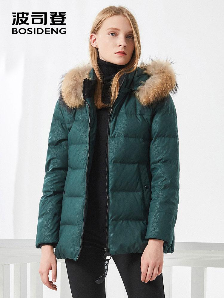 BOSIDENG women down coat winter thick down jacket mid long real fur collar Aristolochia ringens oversize