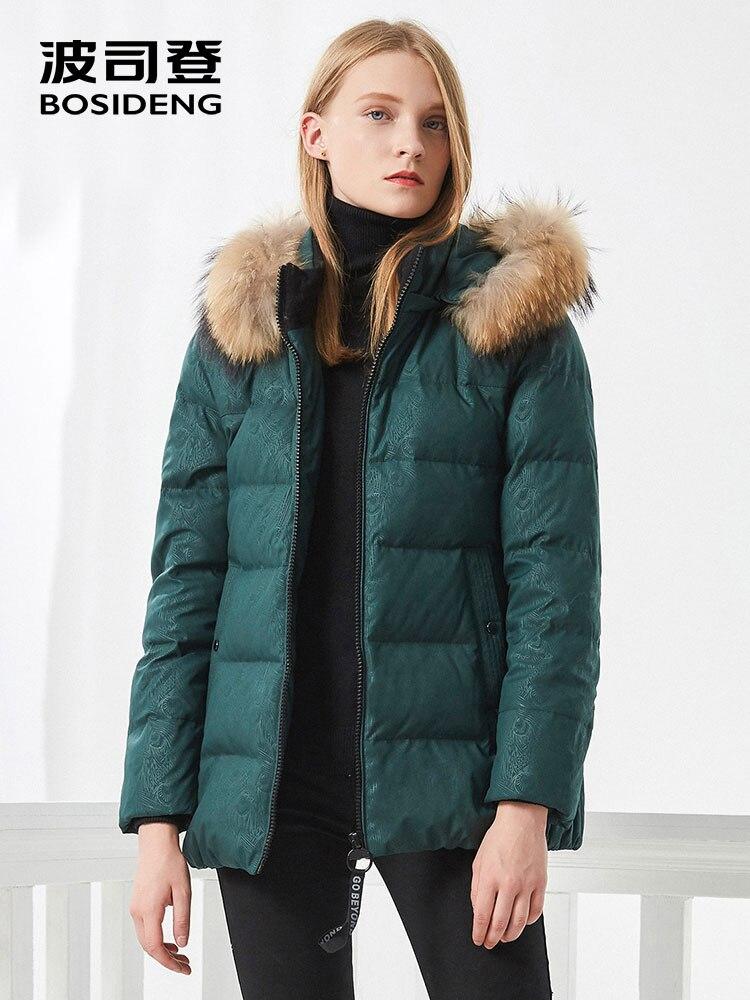 BOSIDENG femmes vers le bas manteau d'hiver épais duvet veste mi-longue réel col de fourrure Aristolochia ringens oversize B70141062B