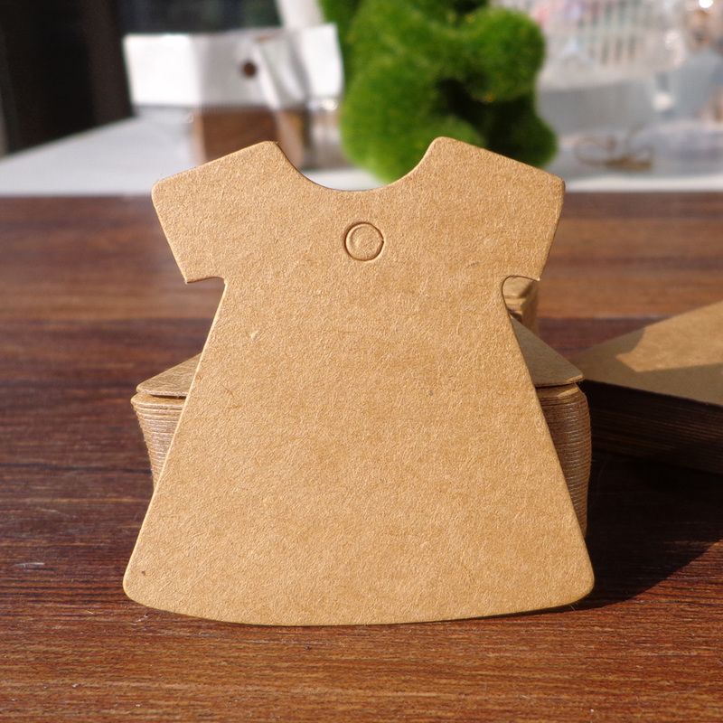 500pcs Dress Design 5x5cm (String Included) Kraft Blank Party Paper Cards Hang tag Gift  ...
