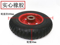 200 X 40mm Rubber Caster Wheel Red Black For Industrial Machines