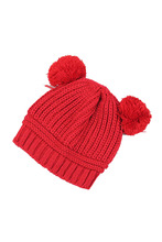 JFYB-5*Korean Kids Love Dual Ball Wool knit sweater Cap Winter Hat Korean – Red