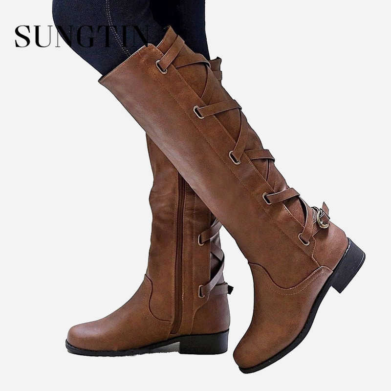 Sungtin 2019 Hot Sale Women Riding Boots Fashion Lace Up Knee-High Punk Boots Ladies Chunky Low Heel Pu Leather Basic Boot Shoes
