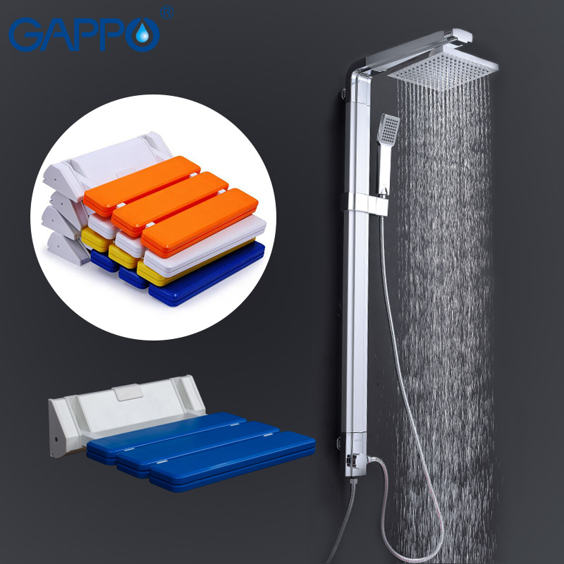 GAPPO Shower Faucets shower taps bath tub mixer Wall Mounted Shower Seats Bath bench Sanitary Ware Suite