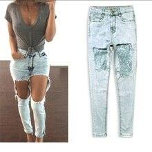 Горячих Женщин Мода Снежинки Джинсы высокая талия нерегулярные углы джинсы Женская одежда сексуальная Джинсы большой размер