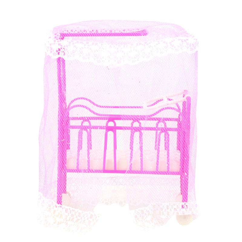 Plastic Cot Bed with Bed Net Doll Accessories Cute Bed Girls Dollhouse Furniture for Barbie Dolls