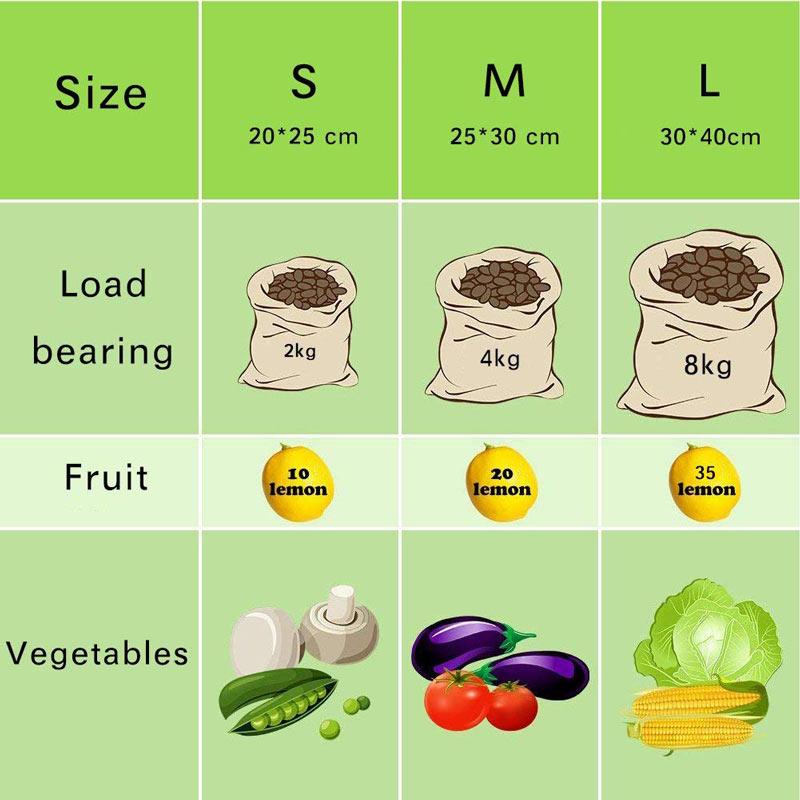 Bolsas de Malla 3 tamaños y de ALGODÓN ecológica sostenible re-utilizable reutilizable de varios tamaños y color beige 3