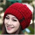 2016 Otoño Invierno Mujeres Sombrero de Moda Snapback Caps Bola de Pelo de Doble Botón Sombreros Calientes del Invierno de Las Mujeres Gorro De Lana Cap Beanie Skullies