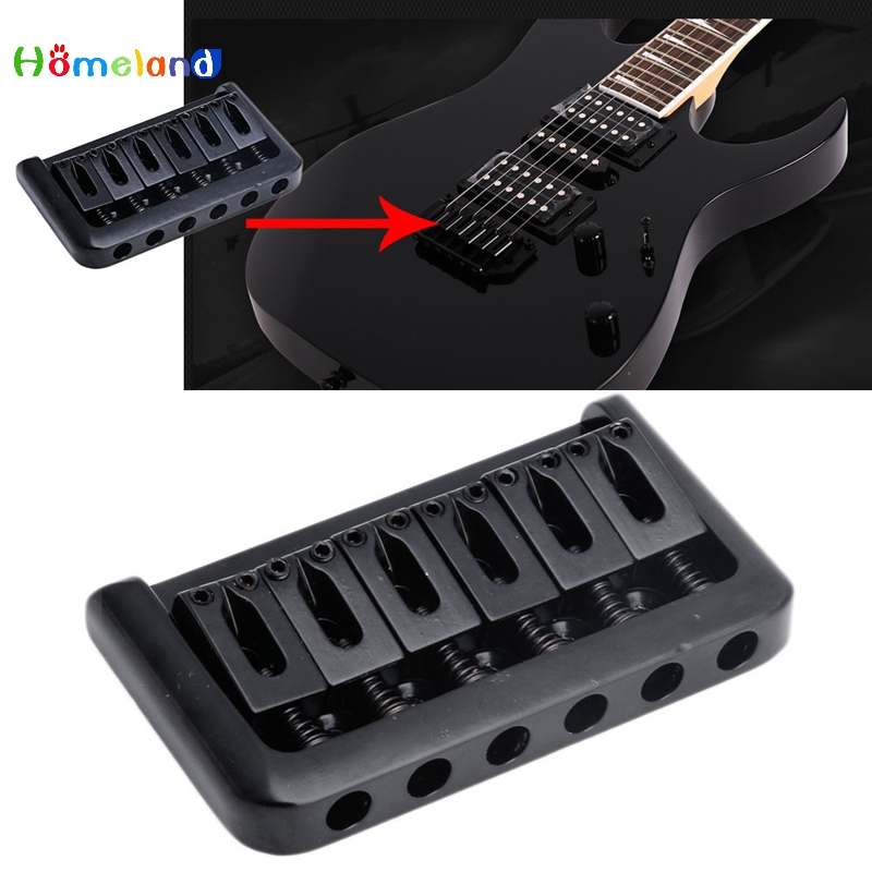 1Set 6 String Electric Guitar Bridge Hard Tail Top Load Black Fixed Hard Tail Parts Jul17_25 a set chrome vintage shape saddle bridge for 5 string electric bass guitar top load or strings through body