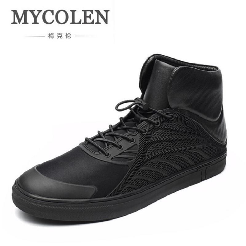 MYCOLEN Men Shoes Fashion Black Men Boots Round Toe Genuine Leather Riding Boots British Style Winter Outdoor Men Shoes Botas цены онлайн