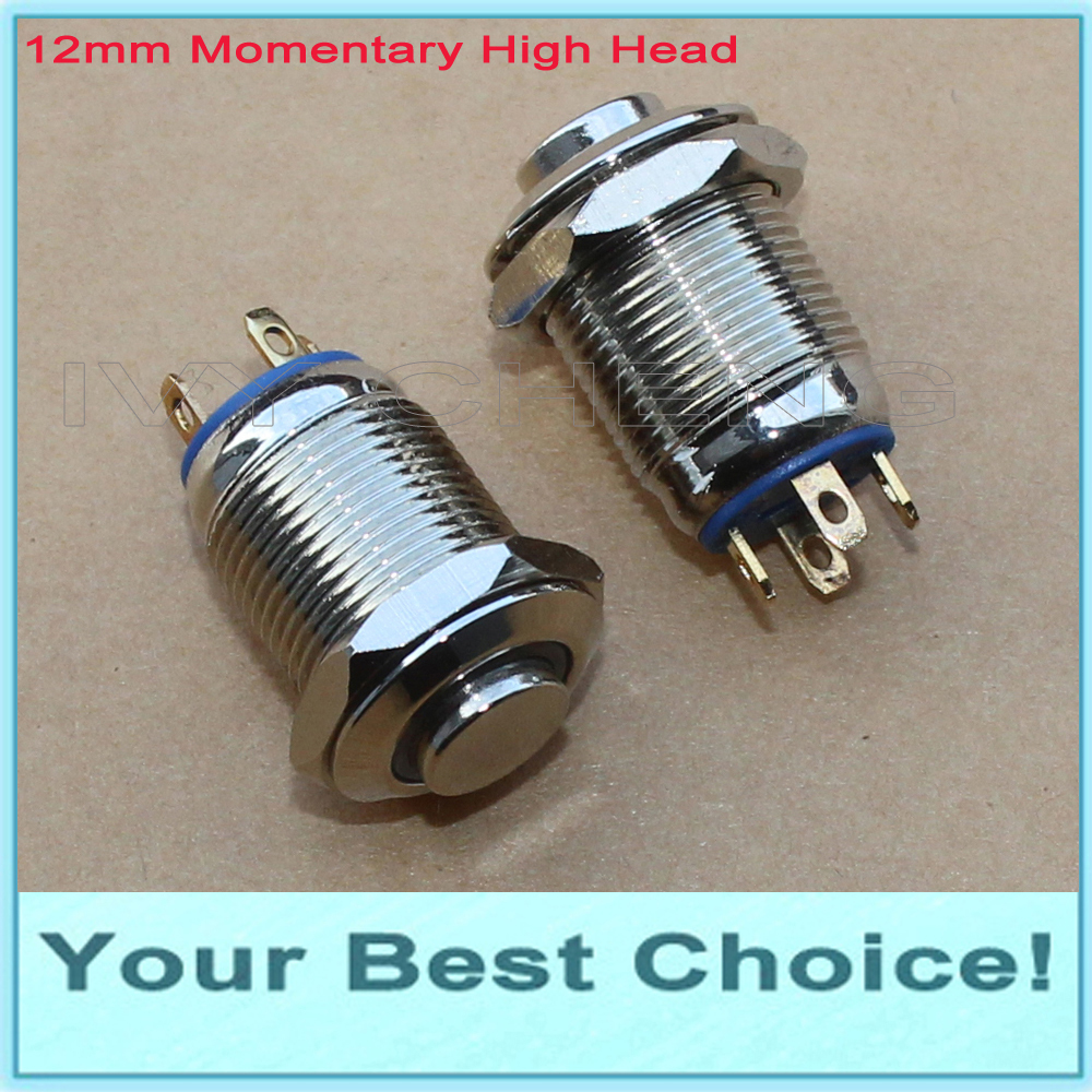 100pcs Lot 12mm Waterproof Momentary Ring LED Illuminated Metal Push Button Switch with High Head DHL