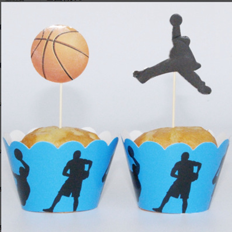 Awesome Store New Olympic World Cup Basketball Bakery Cup Cake Border Set 12Pcs Toppers +12Pcs Wrappers  Dress Up Birthday Party Supply