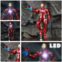 Marvel Мстители светодиодный светильник Железный человек 17 см экшн-фигурка из фильма Tony Stark Legends Endgame Ironman 3 Infinity War MK43 кукла ZD игрушки