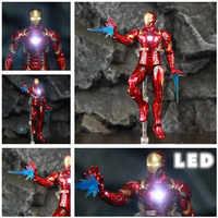 Marvel Avengers lumière LED Iron Man 17cm figurine d'action film Tony Stark légendes Endgame Ironman 3 Infinity War MK43 poupée ZD jouets