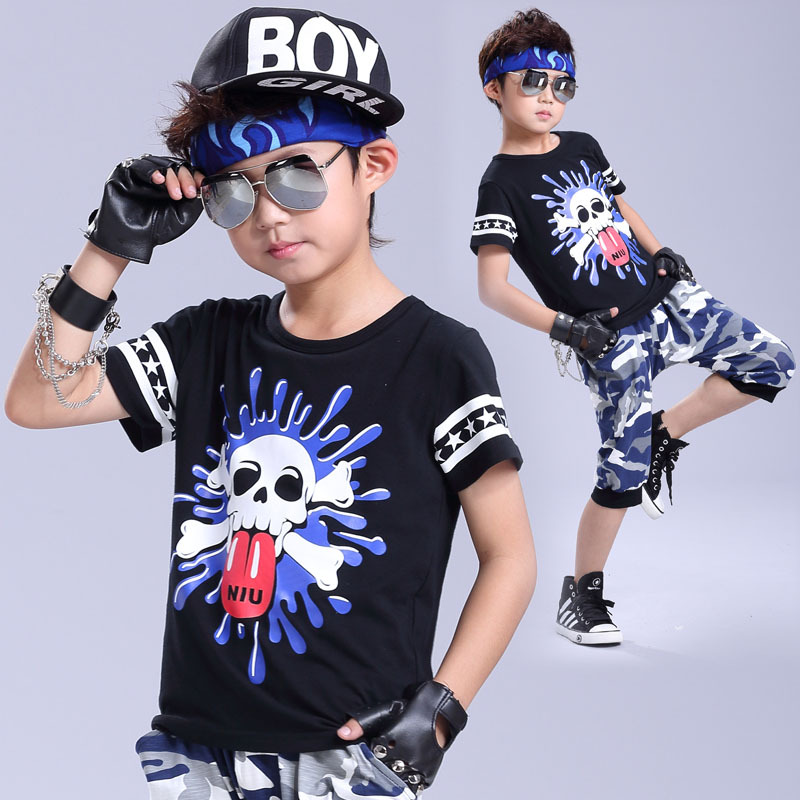 2017 spring summer clothing set Costumes Camouflage Hip Hop dance shorts & doodle Skull  ...