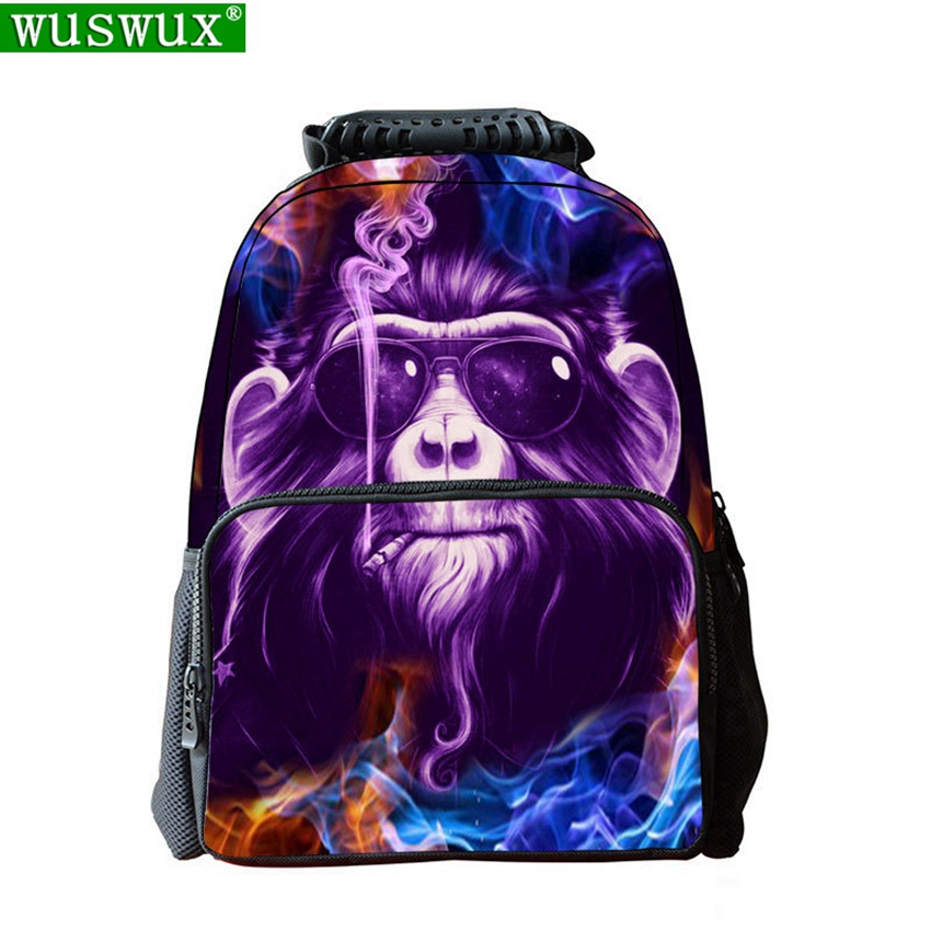 New Fashion Felt 3D Animal Printing Children Backpack Personality School Backpack Large Capacity Student Backpacks School Bag