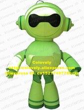 슈퍼 화이트 로봇 Automaton 지능형 기계 마스코트 의상 마스코트 라운드 그린 Tummy 완벽한 바디 No.4345 무료 배송
