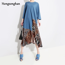 Hongsonghan 2019 spring plum-size indie folk dresses for women leopard dress with three quarter sleeve loose cropped tide