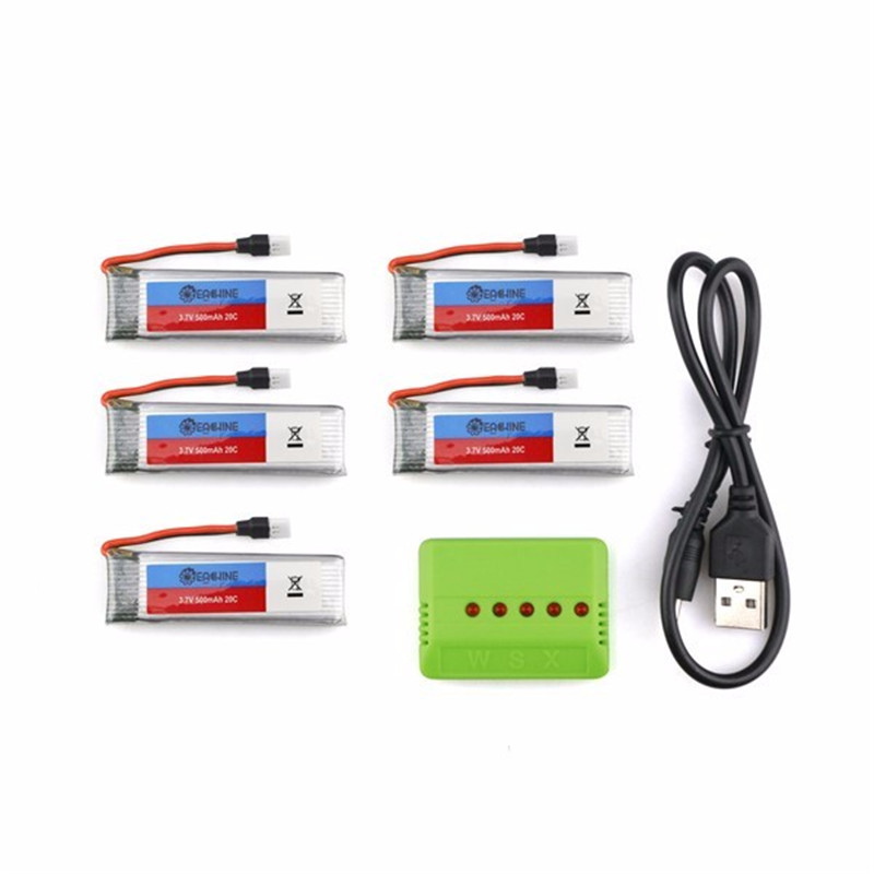 Hot Sale Eachine E50 JJRC H37 RC Quadcopter Spare Parts 5Pcs 3.7V 500MAH 20C Battery And 1 To 5 Charger eachine e56 jjrc h47 rc quadcopter spare