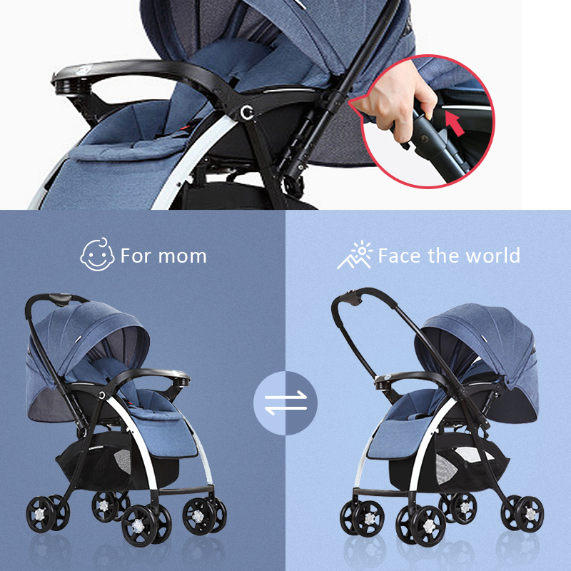 Carrinho de Bebê multifuncional de Dupla Utilização de Carro Do Bebê de Quatro Rodas Carrinho de Criança Dobrável Luz Reverter Para A Frente Peso Criança Quatro Estações