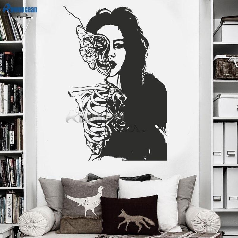 ROWNOCEAN Art Home Decor Skeleton Women Beautiful Girl Vinyl Wall Stickers Removable Office Decoration Halloween Mural D570