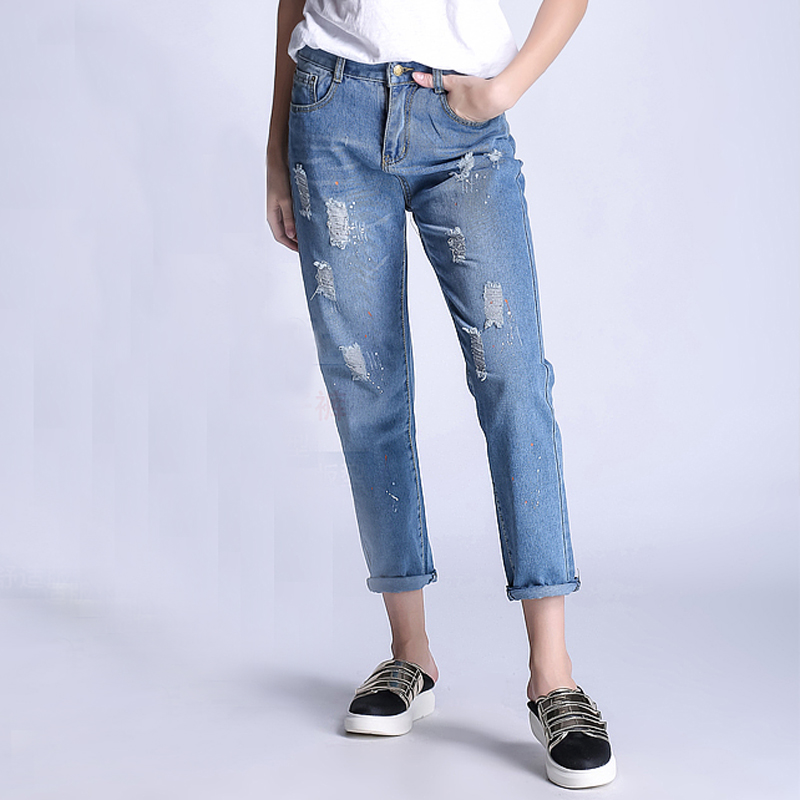 Spring Summer New Jeans Women Ankle-Length Straight Mid Waist Jeans Lady Ripped Loose Fashion Trousers Plus Size hee grand 2017 spring summer men jeans full length business style slim fitted straight denim trousers plus size 29 40 mkn960