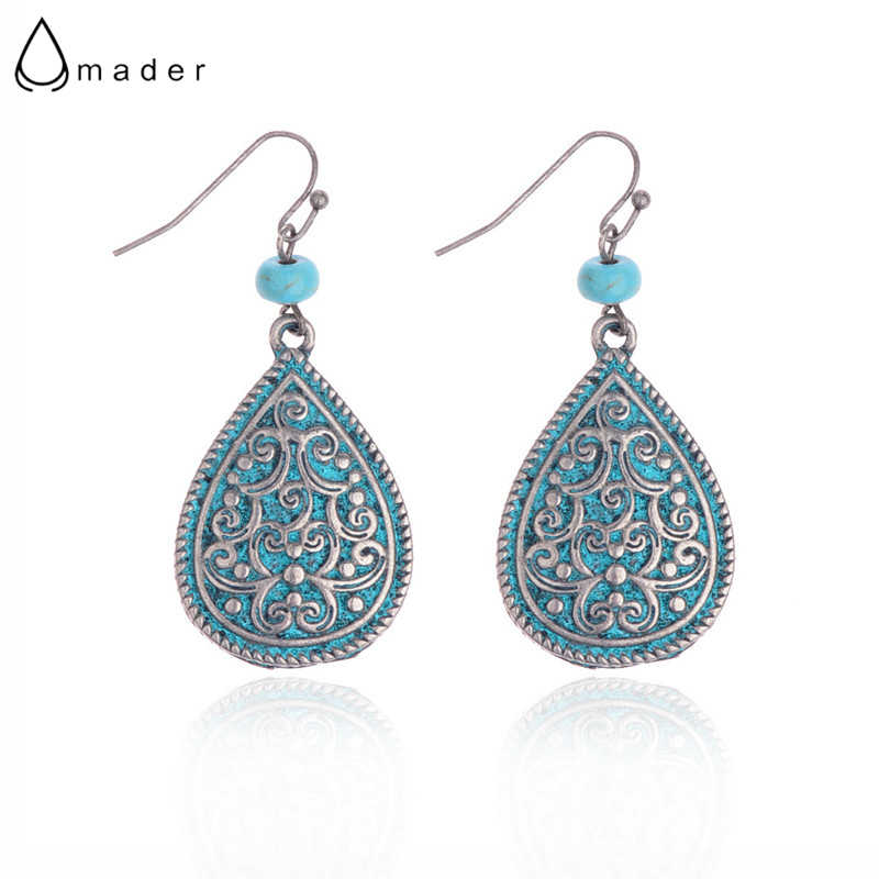 Amader Women's Retro Water Drop Shape Carved Earrings Ethnic Antique Flowers Gypsy Earrings For Women Oorbellen Hangers HQE822