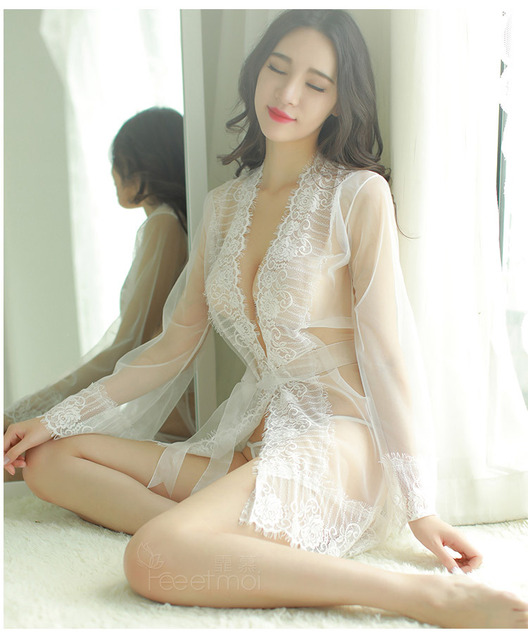 1c90419e1506 Black See Through Lace Long Women Nightdress Nightgown Robe Gown Sexy Bra  and Panty Sets Robe