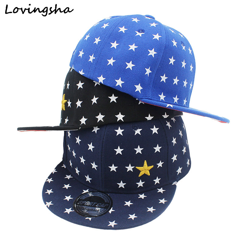 LOVINGSHA 3-8 Ages Children Boys Girls Baseball Cap Acrylic Snapback Caps Five-pointed Star Design Hat C15 style top quality d9 reverse baseball five pointed star last kings hiphop snapback sport caps