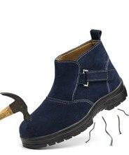 עבודה בטיחות ריתוך נעלי אביב סתיו עור אמיתי פלטפורמת קרסול מגפי Mens מזדמן גדול גודל רתך שמלת פלדת כובע הבוהן