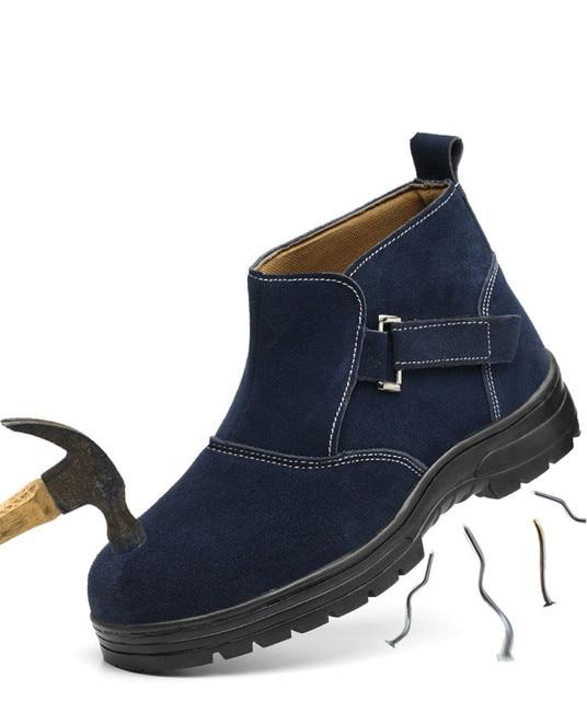 Çalışma Güvenliği Kaynak Ayakkabı Ilkbahar Sonbahar Hakiki Deri Platformu yarım çizmeler Erkek Rahat Büyük Boy Kaynakçı Elbise çelik burun