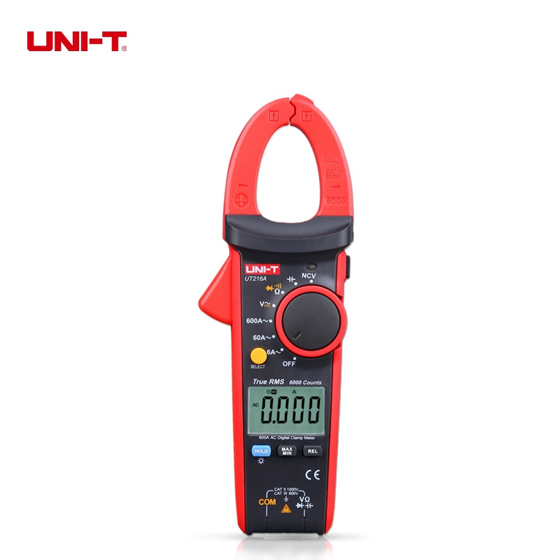 UNI-T UT216A True RMS Multimeter Auto Range Digital Clamp Meter AC/DC Voltage Current Ohm Capacitance Resistance Tester uni t ut216a auto range multimeter mini true rms digital clamp meter w ncv capacitance ac dc voltage current tongs ohm tester