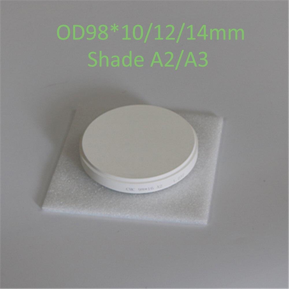 1 pièce OD98 * 10/12/14mm blocs zircone dentaire pré-ombre A2/A3 CAD/CAM système de fraisage pour dents en porcelaine Zirconium céramique
