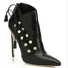 Female Autumn/Winter Boots Soft Leather Rivet Knot Boots High-heeled Ankle Boots Sexy Pointed-toe Solid Boot Shoes Botas Mujer