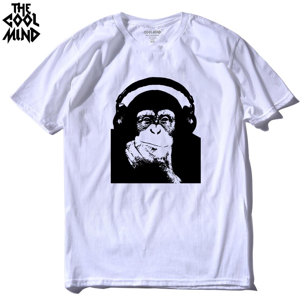 THE COOLMIND casual short sleeve 100% cotton cool punk rock Men T shirt o-neck monkey skull DJ printed men T-shirt tops