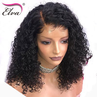 Elva Hair 180% Density 360 Lace Frontal Wig With Baby Hair Curly Human Hair Wigs Pre Plucked Hairline Brazilian Remy Hair Wigs