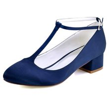 (Ship from US) FC1616 Shoes Woman White Navy Blue Size 4 5 Bridal Wedding  Shoes Block Heel T-Strap Satin Bride Lady Evening Party dress Pumps 169878fb74ac