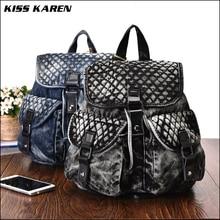 KISS KAREN Stylish Diamond Lattice Denim Backpack Cowboy Women's Backpacks Casual Daypacks for Teenage Girls Jeans Backpack Bags