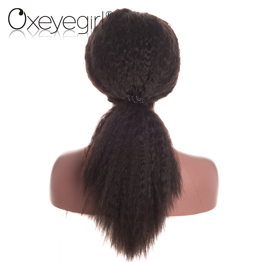 Oxeyegirl Kinky Straight Lace Front Wig With Baby Hair Malaysian 150/180 Density Lace Front Human Hair Wigs For Women NonRemy