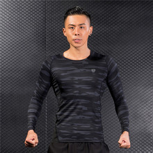 Long Sleeve Camouflage Running Sports T Shirt Patchwork Fitness Basketball Men Muscle Gym Bodybuilding Compression Tights Tees men s short sleeve fitness bodybuilding running gym breathable t shirt men compression tights basketball crossfit under tee tops