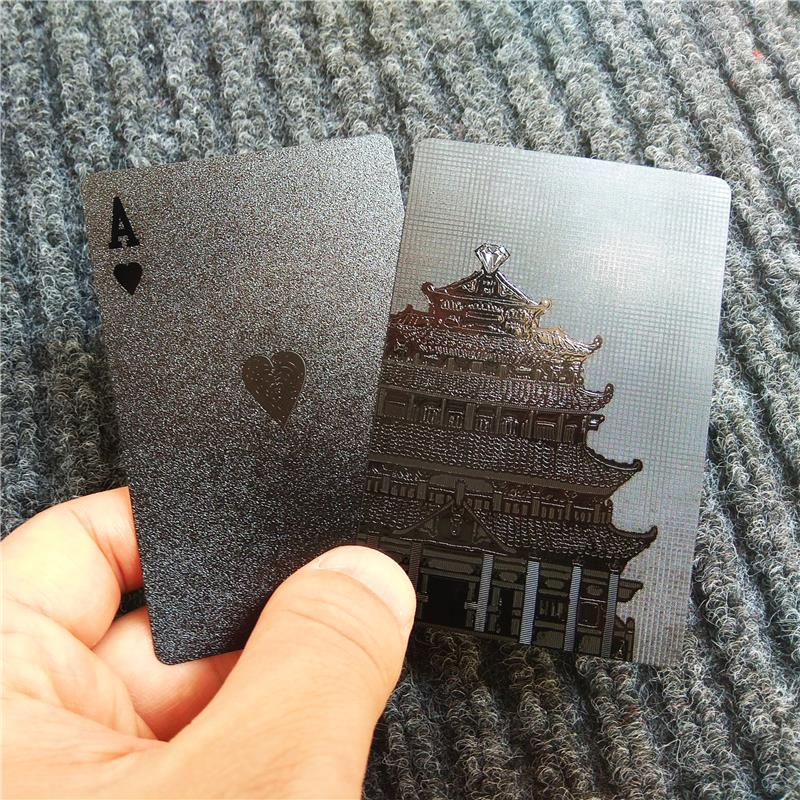 2018 New 3D print Tower Style Pure Black poker Plastic Waterproof Playing Cards game cards TEXAS poker game cards