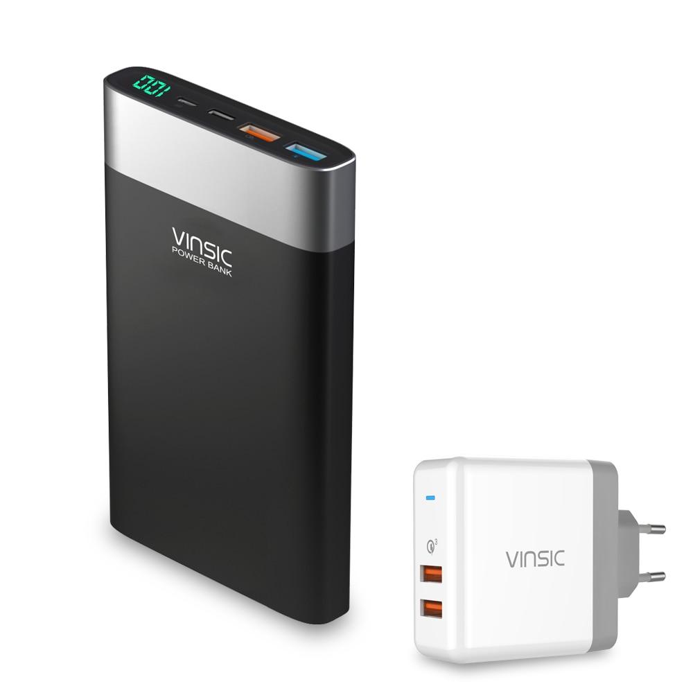 Vinsic 20000 mAh Puissance Banque Charge Rapide 3.0 QC 3.0 Double USB Type-C Externe Portable Batterie Chargeur Pour iPhone Xiaomi Sumsung