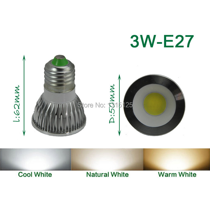 E27 LED Spotlight COB, 3 W Spot licht lamp Warm / Koud Whtie indoor - LED-Verlichting