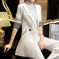 2017 Spring Double Breasted Long Suit Blazer Femme Autumn Slim White Wear to Work Blazer Women Coat Jacket Casual Outwear E506