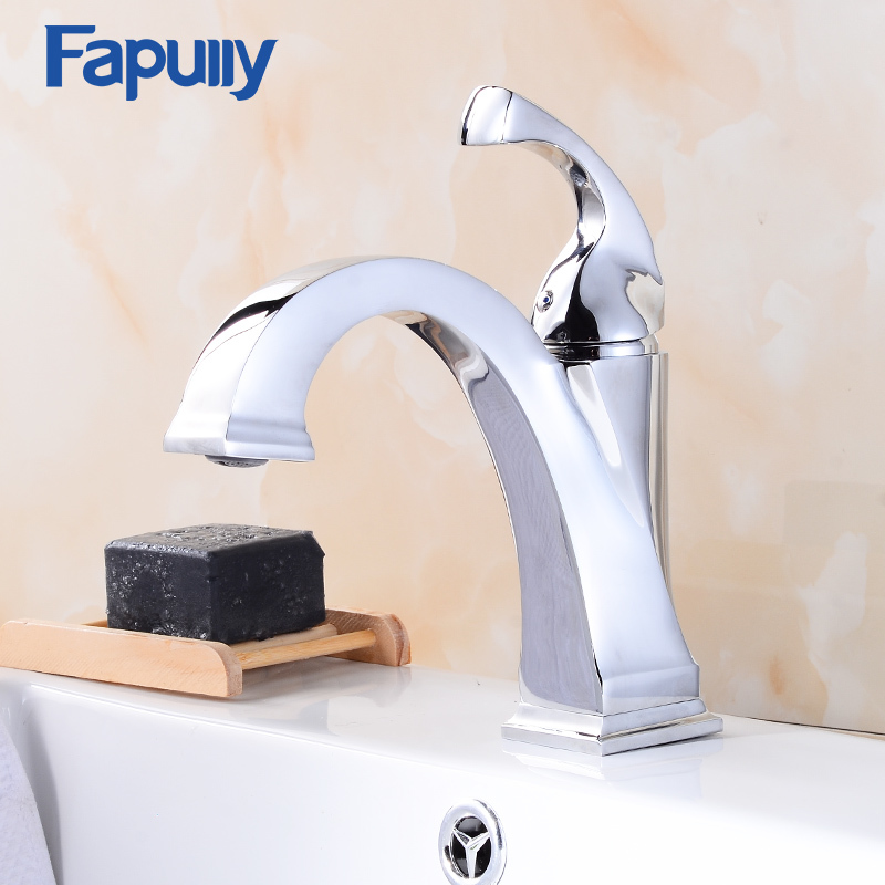 Fapully Basin Faucet Chrome Hot and Cold Faucet Single Handle Deck Mounted Brass Faucets Sink Mixer for Bathroom 515-11C micoe hot and cold water basin faucet mixer single handle single hole modern style chrome tap square multi function m hc203
