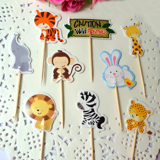 Aliexpress.com : Buy Fashion 24Pcs/lot Wild Animal Cupcake Toppers ...