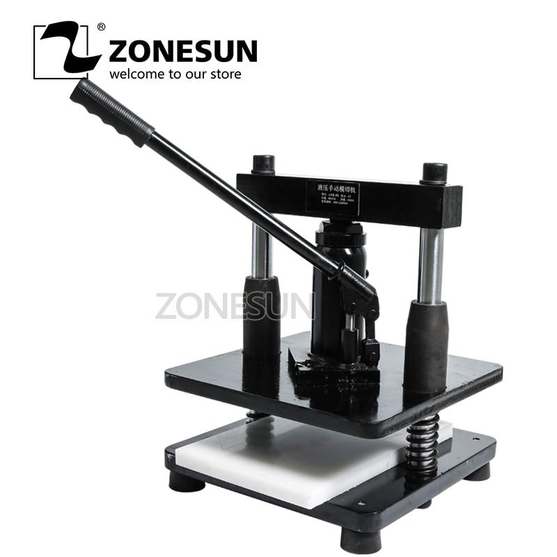 ZONESUN cuir hydraulique manuel machine de découpe papier photo PVC/EVA feuille moule cutter pour bricolage portefeuille en cuir artisanat