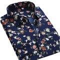 Verão Novas Camisas Dos Homens Casuais Marca de Moda Manga Longa Impressa masculino Plus Size Polka Dot Floral Homens Vestido Formal do Negócio camisa